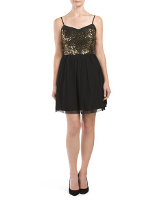 Juniors Sequin Top Carrian Party Dress