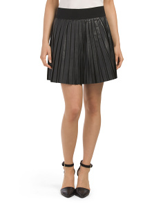 Juniors Faux Leather Pleated Blaze Skirt