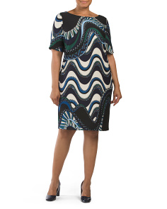 Plus Swirl Print Scuba Dress