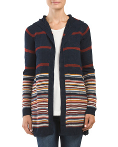 Juniors Marled Stripe Open Cardigan