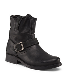 Leather Motorcycle Ankle Boot