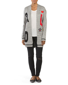 Juniors Long Sleeve Patch Cardigan