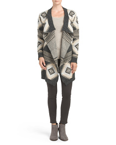 Juniors Aztec Shawl Sweater Cardigan