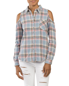 Juniors Cold Shoulder Flannel Shirt