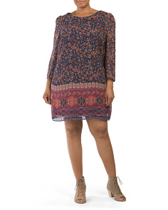 Plus Juniors Printed Shift Dress