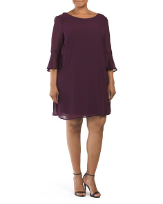 Plus Juniors Bell Sleeve Shift Dress
