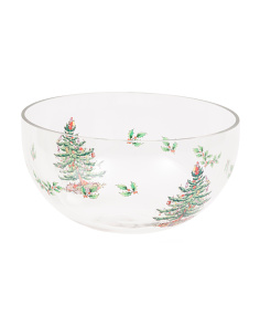 10in Christmas Tree Glass Bowl