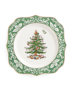 Gold Embossed Christmas Tree Scalloped Plate