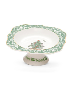 Gold Embossed Footed Christmas Tree Bowl