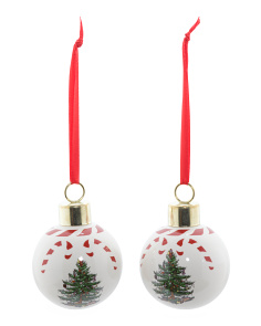 Set Of 2 Peppermint Bauble Ornaments