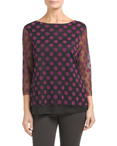 Polka Dot Mesh Overlay Top