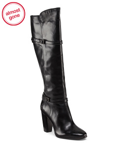Leather Knee High Heeled Zip Boot