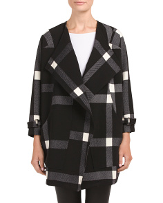 Juniors Plaid Drape Coat