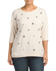 Plus Embellished French Terry Tunic