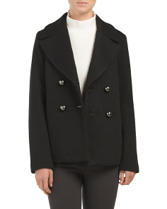 Made In USA Virgin Wool Wide Collar Coat