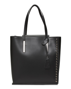 Made In Italy Side Seam Stud Leather Tote