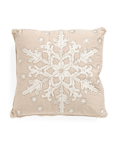 20x20 Made In India Embellished Snowflake Pillow