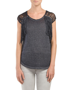 Short Sleeve Knot And Fringe Top