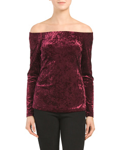Crushed Velvet Off The Shoulder Top