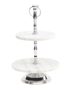2 Tier Marble Serving Tray