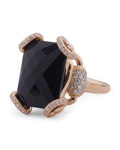 Made In Italy 18k Rose Gold Black Chalcedony And Diamond Horsebit Ring