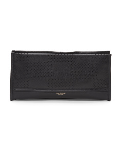 Leather Kay Check Clutch