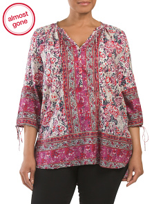 Plus Floral Woodblock Peasant Top