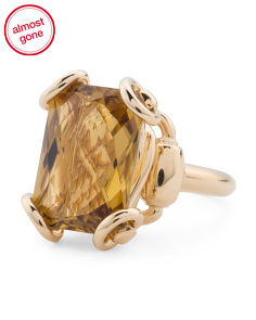 Made In Italy 18k Gold And Cognac Quartz Horsebit Ring
