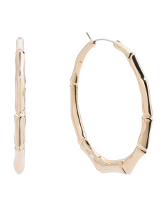 Made In Italy 18k Gold Bamboo Hoop Earrings