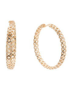 Made In Italy 18k Gold Diamantissima Hoop Earrings