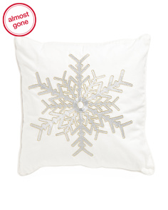 Made In India 20x20 Lurex Snowflake Pillow