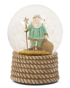Musical Coastal Santa Snow Globe