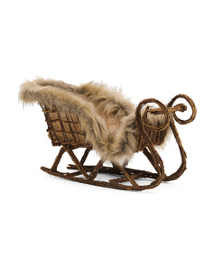 25in Faux Fur Trim Woodland Sleigh
