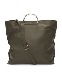 Made In Italy Square Leather Tote