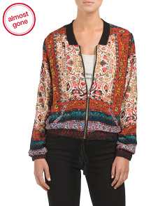 Juniors Mixed Print Bomber Jacket