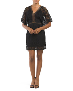 Juniors Lace Kimono Sleeve Dress