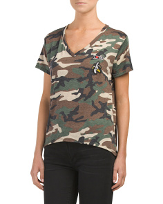 Juniors Camo Short Sleeve Knit Top
