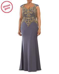 Plus Beaded Bodice Gown
