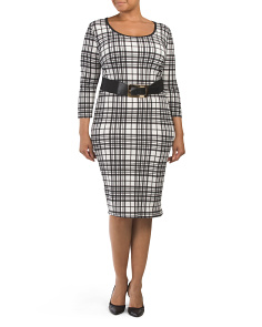 Plus Juniors Plaid Belted Midi Dress