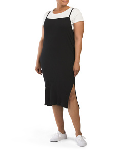 Plus Juniors Layered Midi Slip Dress