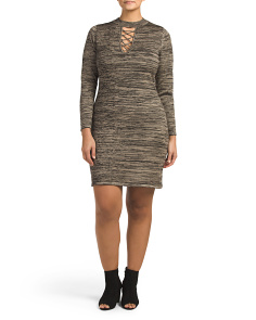 Plus Juniors Mock Neck Lace Up Dress