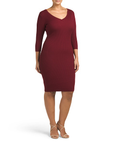 Plus Juniors V Neck Ribbed Dress