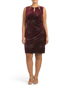 Plus Sleeveless Velvet Beaded Dress