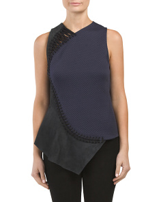 Silk Laced Leather Sleeveless Top