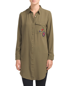 Juniors Woven Tunic With Patches