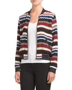 Juniors Stripe Woven Bomber Jacket