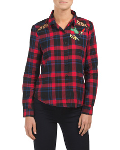 Juniors Plaid Woven Patch Shirt