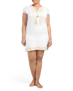 Plus Linen Embroidered Cover-Up