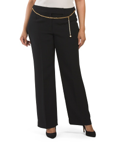 Plus Crepe Gold Chain Belted Pant