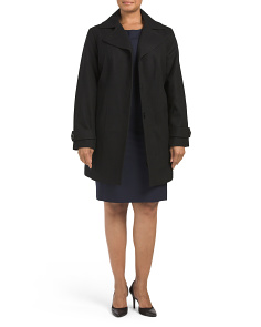 Plus Wool Blend Melton Coat